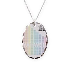 Rainbow YHWH Necklace Oval Charm