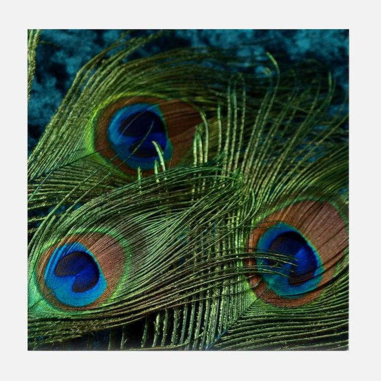Green Peacock Feathers Tile Coaster