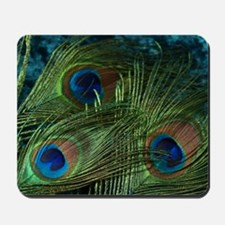 Green Peacock Feathers Mousepad