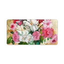 Pretty Peonies Aluminum License Plate