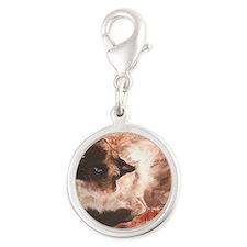 Spirit Ragdoll Siamese Cat Silver Round Charm