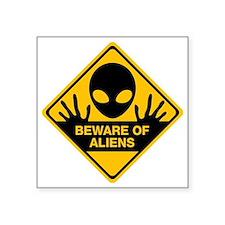 """Beware of Aliens Square Sticker 3"""" x 3"""""""
