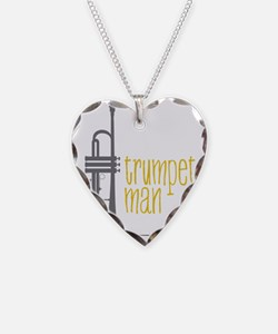 Trumpet Man Necklace Heart Charm