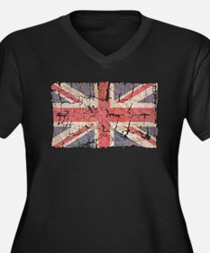 UK Flag Distressed Faded Plus Size T-Shirt