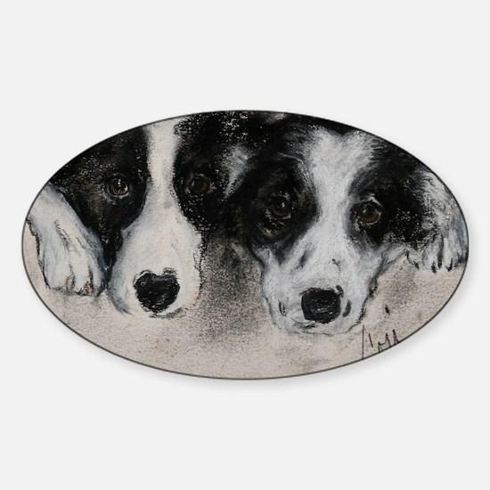 Border Collie Dog Art Sticker (Oval)