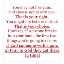"Pro Gun Quote Square Car Magnet 3"" x 3"""