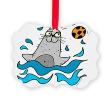 Cartoon Seal by Lorenzo Ornament