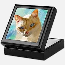 Flame Point Siamese Cat Portrait Keepsake Box