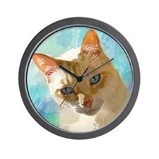 Flame Point Siamese Cat Portrait Wall Clock