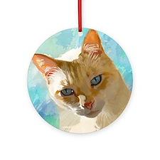 Flame Point Siamese Cat Portrait Round Ornament