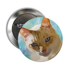 "Flame Point Siamese Cat Portrait 2.25"" Button"