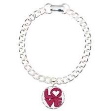 Cute grungy painted love Charm Bracelet, One Charm