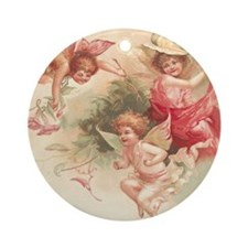 Cupid Angel 3 Round Ornament