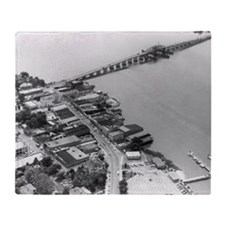 1960s Beaufort SC Downtown by Air Throw Blanket