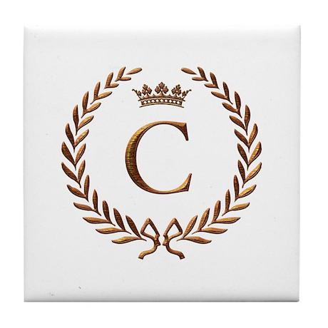 Napoleon initial letter C monogram Tile Coaster