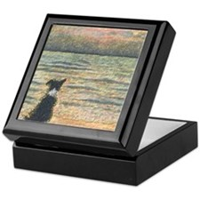 A Border Collie dog says hello to the Keepsake Box