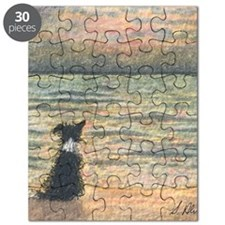 A Border Collie dog says hello to the morni Puzzle