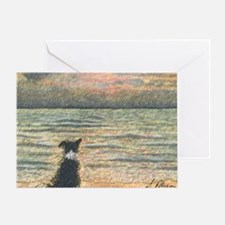 A Border Collie dog says hello to th Greeting Card