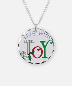 Live With Joy Necklace Circle Charm