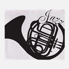Jazz French Horn Throw Blanket