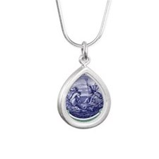 1916 Barbados Neptune Po Silver Teardrop Necklace