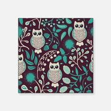 "Owls Pattern Square Sticker 3"" x 3"""