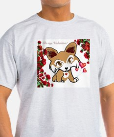 Valentine Corgi in brown with roses T-Shirt
