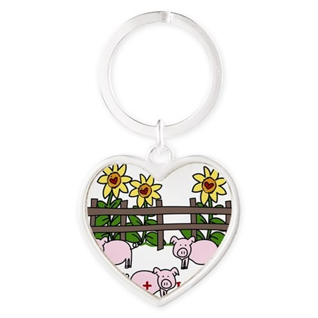 Hogs + Kisses Heart Keychain