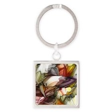 Colorful Abstract Square Keychain