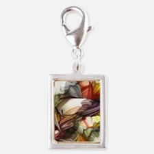 Colorful Abstract Silver Portrait Charm
