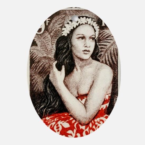 1955 French Polynesia Bora Bora Girl Oval Ornament