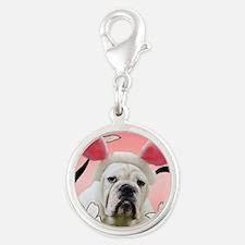 Bulldog Easter Silver Round Charm