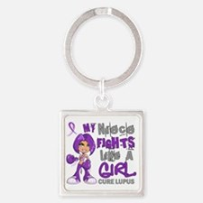 D Niece Fights Like Girl Lupus 42. Square Keychain