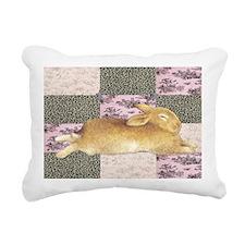 Sleepy Bunny Elongated Rectangular Canvas Pillow