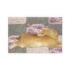 Sleepy Bunny Elongated Rectangle Magnet