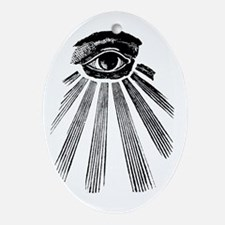 ALL SEEING EYE - BLACK Oval Ornament