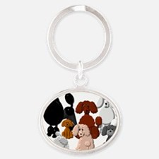 TINY POODLE PACK COLLAGE Oval Keychain