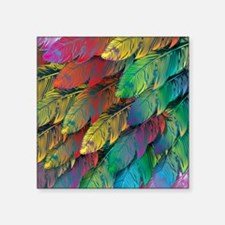 "Parrot Feathers Square Sticker 3"" x 3"""