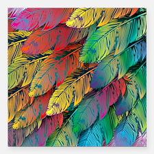 "Parrot Feathers Square Car Magnet 3"" x 3"""
