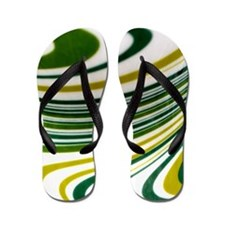 Green Swirl Flip Flops