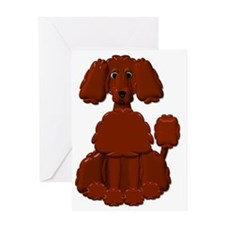TINY POODLE PACK BROWN POODLE Greeting Card