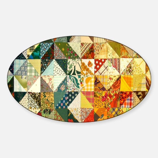 Fun Patchwork Quilt Sticker (Oval)