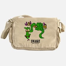 Cartoon Snake by Lorenzo Messenger Bag