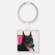 Doberman Pinscher Dog Square Keychain