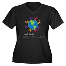 Small Hands Women's Plus Size Dark V-Neck T-Shirt
