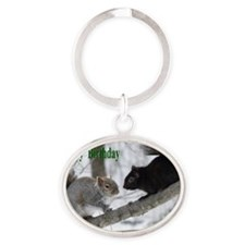 Black and gray squirrels. Oval Keychain