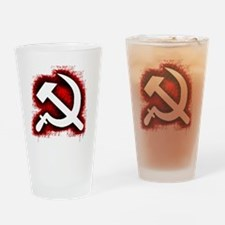 Hammer and Sickle Black Splatter Re Drinking Glass