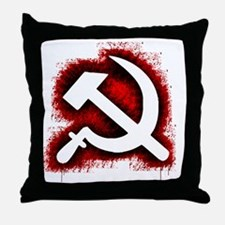 Hammer and Sickle Black Splatter Red  Throw Pillow