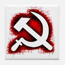 Hammer and Sickle Black Splatter Red  Tile Coaster
