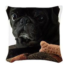 Onyx the Pug Woven Throw Pillow